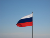 Russian flag flying on the boat