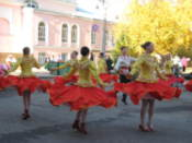 Dancers perform for a city holiday