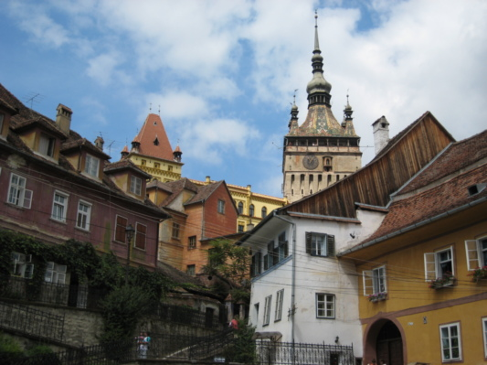 Walking up to the medieval old town of Sighisoara